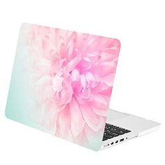 "TOP CASE - Retina 13-Inch Floral Pattern Rubberized Hard Case for MacBook Pro 13"" with Retina Display Model A1425 / A1502 - Pink Peony on Turquoise Base"