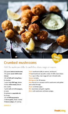 Monday is marching on and we're banging our drum in support! These yummy crumbed are a Monday treat (and perfect party bites). Vegetable Recipes, Beef Recipes, Cooking Recipes, Balsamic Carrots, Mushroom Dish, South African Recipes, Savoury Baking, Sweet Chilli, Vegetable Dishes