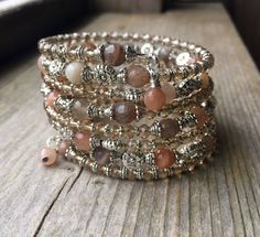 Shimmering Sunstone Memory Wire Bracelet With by McHughCreations