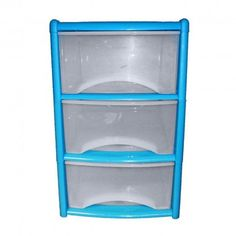 3 Drawer Tower Blue : The 3 Drawer Plastic Storage Tower has integrated handles for extra stability and strength. A strong and durable Tower can be used regularl Blue Drawers, Plastic Storage, Drawer Handles, Tower, Frame, Picture Frame, Rook, Computer Case, Frames