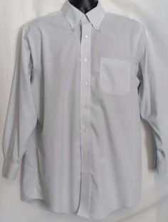 Brooks Brothers  Button Front Cotton White and Blue Striped Mens Shirt Size 16.5 #BrooksBrothers