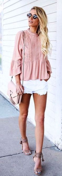 #Summer #Outfits / Pink Long Sleeve Top + White Short Shorts