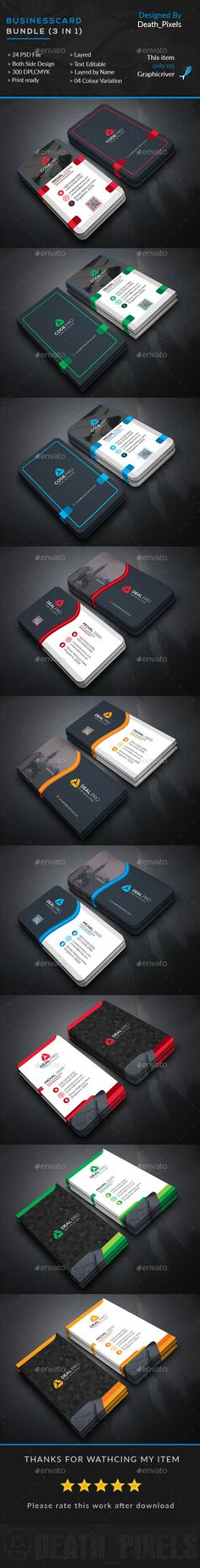 Business Card Bundle (3 in 1) - Business Card Design Template PSD. Download here: http://graphicriver.net/item/business-card-bundle-3-in-1/16501334?s_rank=6&ref=yinkira