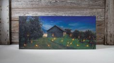 Lighted Canvas Wall Art Fireflies  summer field filled with flickering fireflies, battery powered light up canvas  shelley b home and holiday