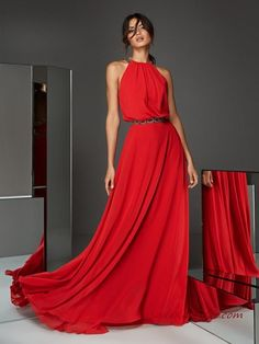 Discover our Pronovias Wedding Dress Collection. View our amazing selection of unique bridal dresses and gowns featuring the latest trends. Red Chiffon, Chiffon Gown, Formal Evening Dresses, Evening Gowns, Glamour, Wedding Guest Gowns, Groom Dress, Special Occasion Dresses, The Dress
