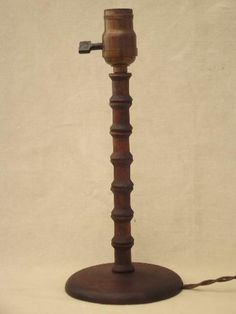1930s table lamp, wood spool furniture folk art made from thread spools