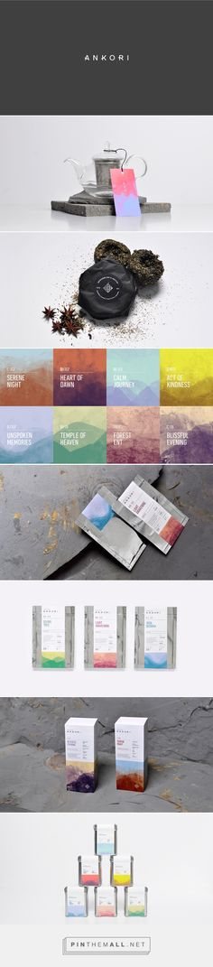 Branding, graphic design and packaging for Ankori on Behance by Firmalt Monterrey, Mexico curated by Packaging Diva PD. A visual system was developed using Chinese ink textures and different combinations of color, it also incorporates alphanumerical codes that identify each product.
