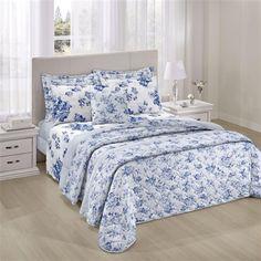 Colcha Casal Santista com 2 Porta Travesseiros Núbia Azul Claro 150 Fios - Dupla Face