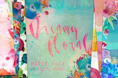 Dreamy Floral Digital Paper Pack by Creativeqube Design on Creative Market