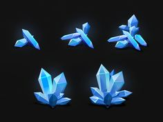 Long time no see! All this time, I learned new methods of work for myself. One of the results represented here today.   These are crystals for the game