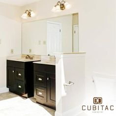 Just gotta love this Cubitac Dover Espresso #bathroomvanity. Thank you @75cabinets for expert installation!