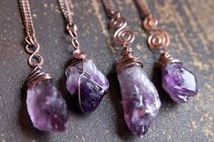 Rough Amethyst gemstone necklace. Raw purple crystal, antiqued copper wire wrapped pendant, amulet legend energy spiritual chakra, boho yoga by CypriumJewellery on Etsy www.etsy.com/...