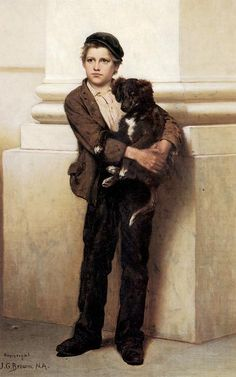 Frank and His Dog, Oil On Canvas by John George Brown (1831-1913, England)
