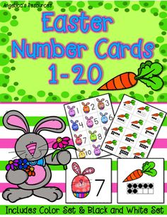 Help the bunnies find their carrots and match their numbers to the corresponding ten frames with these... Easter Number Cards