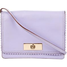 Pre-owned Kate Spade New York Scallop-Trimmed Shoulder Bag ($125) ❤ liked on Polyvore featuring bags, handbags, shoulder bags, purple, purple leather handbag, purple leather shoulder bag, man shoulder bag, handbags shoulder bags and purse shoulder bag