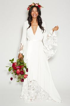 High-drama layered silk crepe robe dress featuring paneled net lace with textured cotton appliques. Stone Fox Bride, Fall 2013