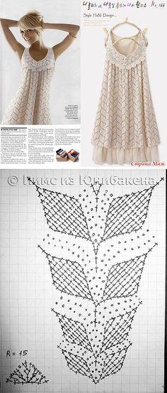 Платье Вишневая веточка. Вязание крючком | Умелые ручки