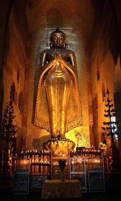 Buddha, Ananda Temple in Bagan, Myanmar, with his hands in the teaching (vitarka) mudra.