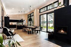 Black log home into a rural setting - Honka Modern Cabin Interior, Modern Cottage, Modern House Design, Modern Farmhouse, Interior Design, Cabin Homes, Log Homes, Cabin Interiors, Cabin Design