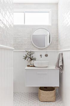 Downstairs Bathroom, Bathroom Renos, Laundry In Bathroom, Bathroom Renovations, Small Bathroom, Bathroom Ideas, Hampton Style Bathrooms, Coastal Bathrooms, Bathroom Styling