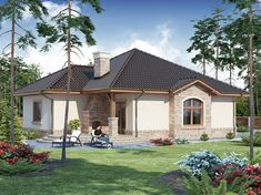 Modern Small One Storey House Design + Plan Beautiful House Plans, Beautiful Homes, One Storey House, Home Design Plans, Gazebo, Exterior, Outdoor Structures, House Design, Cabin
