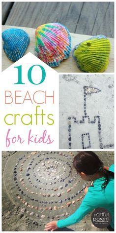 10 fun ocean crafts for kids to make your next beach trip more creative... Includes melted crayon shells, sand casting, sea shell mandalas, fish paintings.