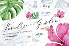 Calligraphy Wedding Invitation Suit by Spencerian Sisters on @creativemarket