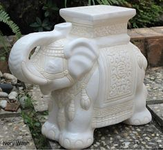 Porcelain Garden Stool Ceramic Elephant Plant Stand Accent Table Patio Ivory
