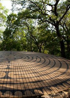 Most prominent among the many works of art is Red Corral's walking labyrinth; 40 feet in diameter, faithfully reconstructed from medieval design, it provides the venue for meditation and introspection on a proven path one-third of a mile in length.