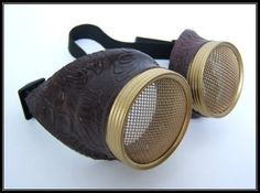 Hive Steampunk AirPirate Goggles - Wasp Eye lens Copper or Brass Burning Steampunk man. $30.99, via Etsy.