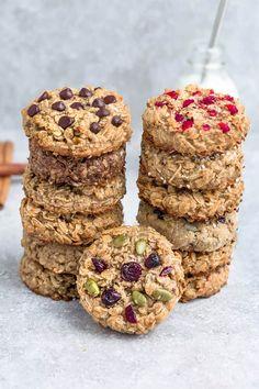 Breakfast Cookies - 12 Ways including Low Carb / Keto / Paleo / Vegan Make Ahead Oatmeal, Healthy Make Ahead Breakfast, Baking Recipes, Whole Food Recipes, Cookie Recipes, Dessert Recipes, Dinner Recipes, Breakfast Items, Breakfast Dishes