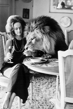 Tippi Hedren ~ Animal activist...primarily Large Felines ~ She raised her actress daughter Melanie with them in their home~ she now has a sanctuary for them where she lives in Calif.
