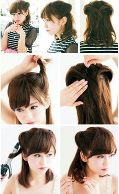 Cute Japanese hairstyle. Might be easy to try.