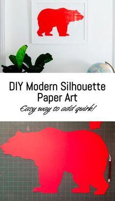 DIY Modern Bear Silhouette Paper Art