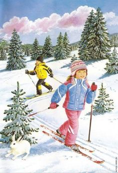 Kids having fun skiing pieces) Snow Pictures, Christmas Pictures, Snow Scenes, Winter Scenes, Winter Fun, Winter Time, Christmas Scenes, Christmas Fun, Christmas Illustration