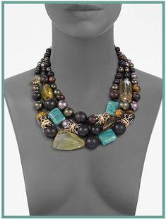 alexisbittar necklace | Alexis Bittar Three-Row Semi-Precious, Multi-Stone Necklace: The Spice ...