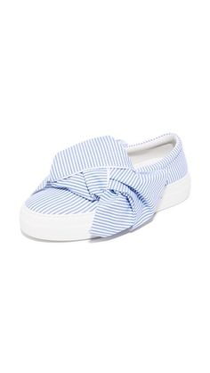 Joshua Sanders Skinny Stripes Bow Slip On Sneakers