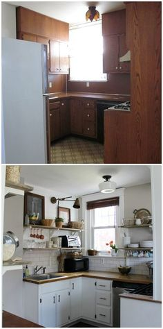 Old kitchen remodel DIY -  done on a very tight budget with a very small space!  #beforeandafter #kitchen #openshelving