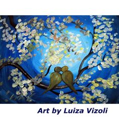 Lemon Tree Original Large Painting Whimsical Abstract Painting by Luiza Vizoli Tree of Life Your Paintings, Landscape Paintings, Original Paintings, Original Art, Large Painting, Abstract Flowers, Blue Moon, Love Birds, American Artists
