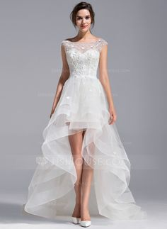 A-Line/Princess Scoop Neck Asymmetrical Tulle Lace Wedding Dress With Beading Flower(s) (002071230) - JJsHouse