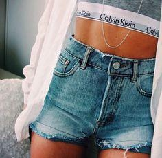 The look : calvin klein + denim Summer Wear, Spring Summer Fashion, Summer Outfits, Cute Outfits, Calvin Klein Femmes, Calvin Klein Women, Calvin Klein Bralette, Calvin Klein Underwear, Passion For Fashion