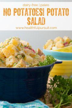 No Potatoes! Potato Salad (Paleo) | Healthful Pursuit #paleo #dairyfree #glutenfree