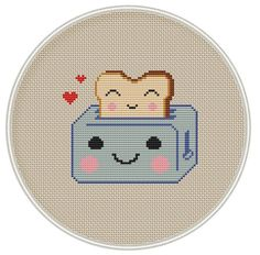 Kawaii Toster Cross Stitch Pattern by MagicCrossStitch Kawaii Cross Stitch, Just Cross Stitch, Cross Stitch Fabric, Beaded Cross Stitch, Modern Cross Stitch, Counted Cross Stitch Patterns, Cross Stitch Designs, Cross Stitching, Cross Stitch Embroidery