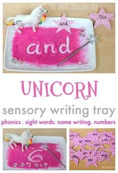 Unicorn Sensory Writing Tray - The Imagination Tree School Age Activities, Eyfs Activities, Spelling Activities, Writing Activities, Activities For Kids, Teaching Resources, Listening Activities, Alphabet Phonics, Phonics Games