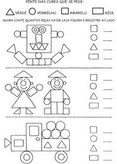 attribute block patterns for kindergarten Kindergarten Worksheets, Math Classroom, Teaching Math, Learning Activities, Preschool Activities, Kids Learning, 1st Grade Math, Math For Kids, Kids Education