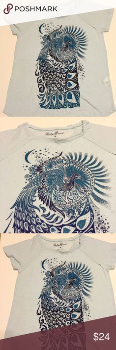 """Lucky Brand graphic tee """"Sun Phoenix . . . Love, Peace, Harmony, Good Karma."""" In very good condition, the fabric is lightweight and super soft. Bundle and save 💙 Lucky Brand Tops Tees - Short Sleeve"""