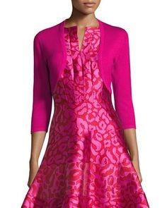 Oscar de la Renta 3/4-Sleeve Open-Front Bolero Cardigan, Hot Pink