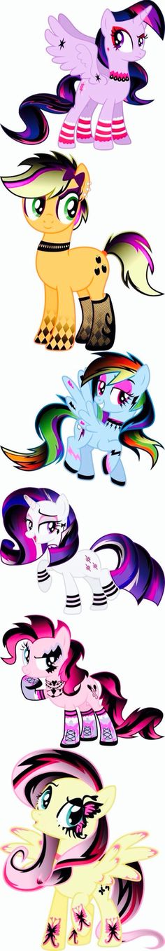 Punk MLP  Twilight sparkle, applejack, rainbowdash, rarity and pinkie pie.