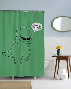I Love You This Much T Rex Shower Curtain