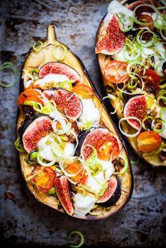 roasted eggplant, fig, and mozzarella pizzas